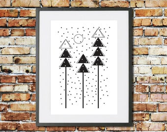 Forest Print - Monochrome Print - Forest Wall Art - Scandinavian Print - Tree Print - Scandinavian Art - Christmas