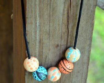 Boho Hand Painted Beads on Leather Cord Necklace