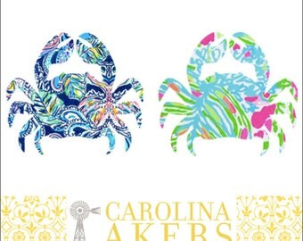 Crab Decal - Beach Decal - Summer Decal - Yeti Decal - Yeti Crab Decal - Car Decal - Window Decal - Patterned Crab Decal - Vinyl Decal
