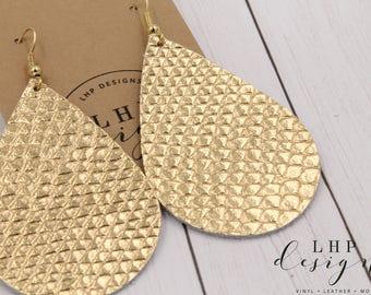 Gold Metallic Amazon Cobra Leather Earrings