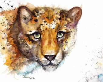 Original Watercolour Leopard Print by Artist Be Coventry Wildlife Animal Art