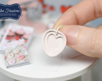 Baking Cookies Pan tray - hearts shaped - handmade dollhouse tin- miniature one inch scale 1:12