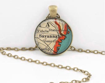 Savannah Georgia Map Geography Gift  Pendant Necklace or Key Ring