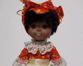 Knickerbocker Black Doll Sleep Eyes Country Dress Vintage African American Plastic Heart Stand