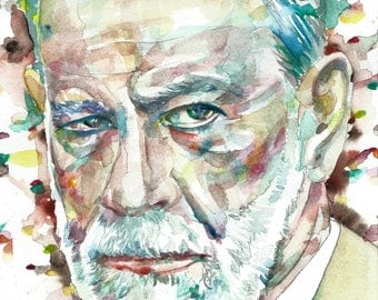 SIGMUND FREUD - original watercolor portrait - one of a kind!