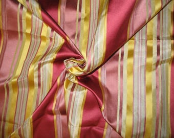 Tabitha Collection - 100% Pure Satin Silk Stripe Fabric - Pink & Yellow