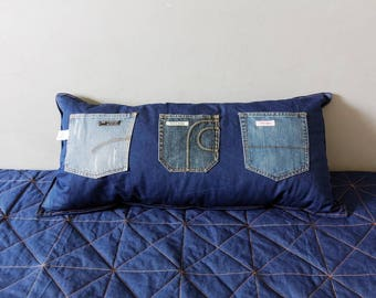 Modern Quilt Denim and Yellow Honey Cotton,with Denim Pillow for teens room, single bed, Custom Order