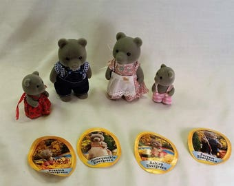 Sylvanian Familes Evergreen Grey Bears Mom, Dad, children set of 4