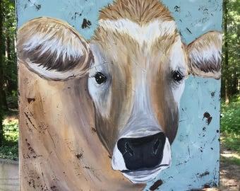 Cow painting, Cow art, farm art, farm animal decor, cow decor, original painting