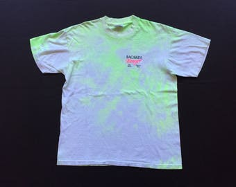90s bacardi breezer alcoholic beverage t shirt one size neon vibrant 90s colour block unisex adult 100% Cotton vodka single stitch vintage