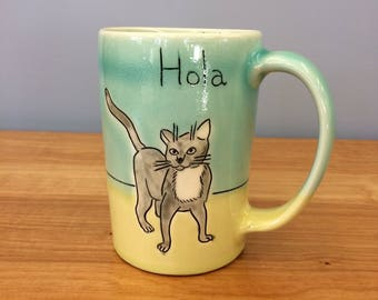 Handmade Kitty Mug. Glazed in Aqua & Lime. MA51