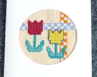 Tulip Cross Stitch Notecard, Blank Inside, Small Cross Stitch Greeting Card