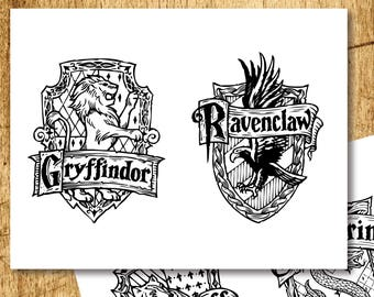 Harry Potter Inspired Printable Crests Coloring Pages