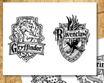"Harry Potter Inspired Printable Crests Coloring Pages  |  Gryffindor, Slytherin, Hufflepuff & Ravenclaw  |  Digital Download  |  8.5x11"""