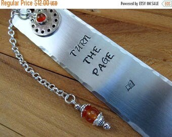 ON SALE Aluminum Stamped Metal Bookmark Turn The Page