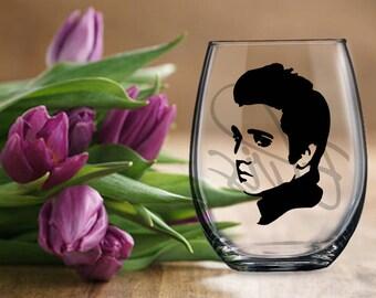 Elvis Presley Gift, Elvis Wine Beer Glass, Stemless or Stemmed Elvis Double Sided Wine Drink Cup, Present for Elvis Fan Lover, Elvis Lives