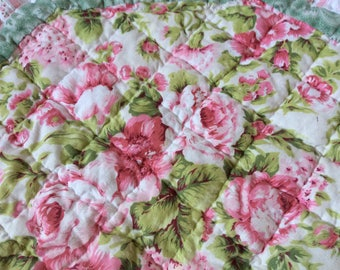 Pink Cabbage Roses Baby Crib Quilt -  Shabby Cottage Chic  - Victorian Decor  - Baby Girl Nursery - Bedding - Cabbage Roses - Vintage