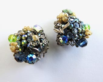 Robert Faux Pearl and Rhinestone Clip on Earrings