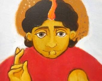 ORIGINAL folk icon Angel, bright red and yellow