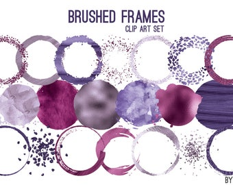 Purple Brushed Frames Paint Watercolor Glitter Foil Circle Clip Art 20 Image PNG File 8in Commercial Use Graphics Digital Clipart Set 1