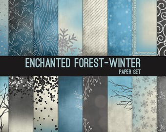 Enchanted Forest Digital Paper Winter Silver Glitter Blue Cream Gray 12x12 Textures, Glitter, Foil, Metallic, Backgrounds, Instant Download