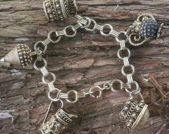 Vintage etruscan 835 European charm bracelet