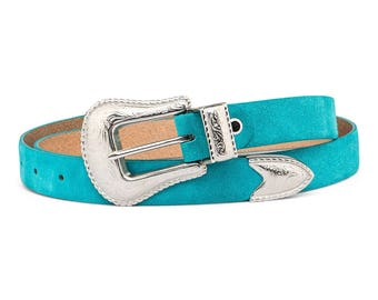 Turquoise Leather Belt Western belts for women Cowgirl Silver buckle Italian suede leather