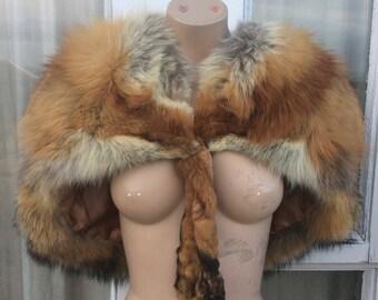 Vintage Red Fox Fur Stole Scarf Bolero Cape Taxidermy Antique 1920s Arctic Soft