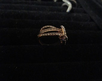 goldtone vintage band ring size uk J.1/2  size usa   5.25  in good condition