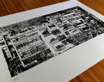 "Barcelona. Screen printing. Original ink. 11""x15"""