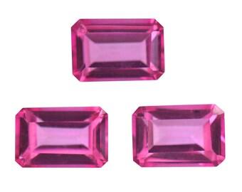 Pink Topaz Loose Gemstones Set of 3 Octagon Cut 1A Quality 6x4mm TGW 1.70 cts.