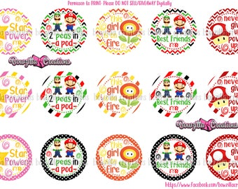 Mario Inspired, Bottle Cap Images, Power Up, On Fire, Girl, Best Friends, Star Power, Peas in a Pod, 1 Inch Circles, Digital Bottle Caps