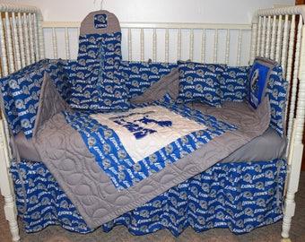 New Nursery Crib Bedding m/w Detroit Lions Fabric