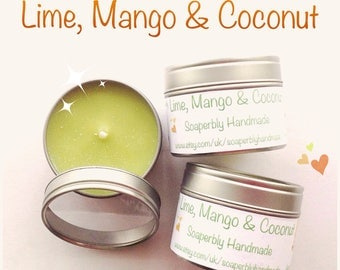 Scented candle, Lime, Mango, and Coconut fragrance, Eco friendly Soy Wax,