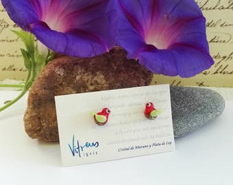Earrings made of Murano Glass and Sterling Silver, red and green colour