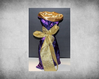 Pintuck Taffeta Wine Bag - Purple with gold taffeta lining and ribbon. Great for wedding gifts or parties. WINE-202