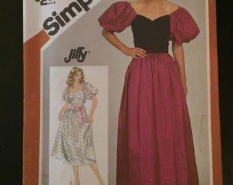 1983 Simplicity Jiffy Pattern # 6205, Misses Size 10, Dress
