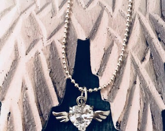 Heart with Tiny Wings Necklace