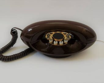 Vintage Working EXCELLENT Condition Mid Century Modern Telephone, 1970s Telephone, GENIE Telephone Brown Telephone
