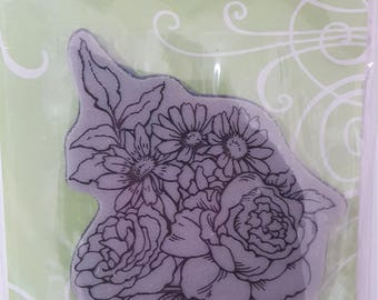 Stampendous mounted Cling bowl bouquet rubber stamp