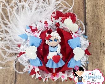 Valentine Hair Bow, Valentine Bow, frozen Hair Bow, Frozen Bow, Elsa Valentine Bow, Elsa Hair Bow