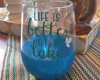 Life is better at the lake, glitter, sparkle mug