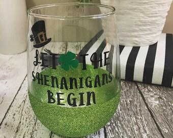 Let the shenanigans begin! Sparkle glitter wine glass