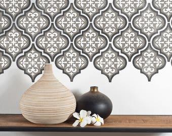 TEMARA 3-Layer Moroccan Furniture Floor Wall Tile Stencil - TEMA01