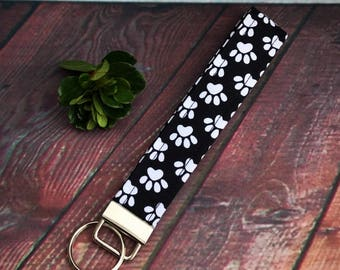 Paw print key fob, black and white fabric key fob, key chain, wristlet, stocking stuffer
