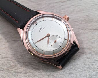 Omega Vintage Automatic Mens Watch Rose Gold #B187