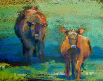 Cow and Bull, 11 x 14 pastel painting