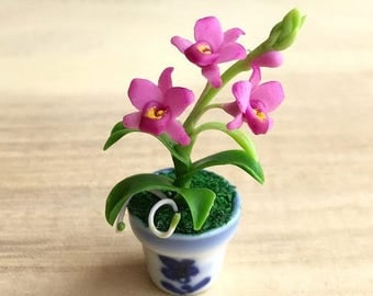 MidYear Sale15% Miniature Flower,Miniature Flower Pot,Miniature Orchid,Dollhouse Flower,Miniature Garden,Dollhouse Orchid,Red Orchid