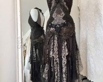 Raven dress tattered,20 s dress tattered,vampire dress crochet,post apocalyptic drama,gothic dress rawrags,black raven gypsy,stevie nicks
