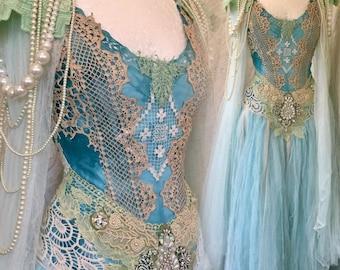 Statement wedding dress,bridal gown extraordinaire,bohemian wedding dress,lace wedding dress, alternative wedding dress,statement wedding